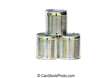 silver tin can isolated on white background.