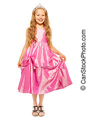 Little girl in pink dress with princess crown - Beautiful...