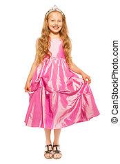 weinig; niet zo(veel), meisje, roze, jurkje, prinsesje,...