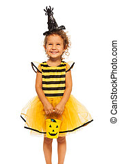 Girl in Halloween bee stripped costume - Beautiful smiling...