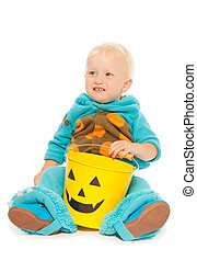 Little toddler boy monster costume on Halloween