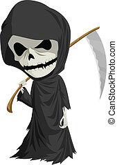 Grim Reaper - Cartoon illustration of grim reaper with...