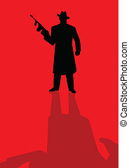 Mobster - Silhouette illustration of a male figure holding a...