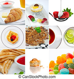 food mix - Food and drink theme photo collage composed of...