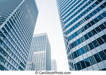 building - View of modern blue colored building made of...
