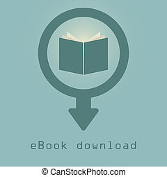 downloading e-books icon. concept of purchase and download...