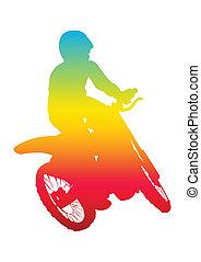 Motocrosser - Pop art illustration of a man riding motocross