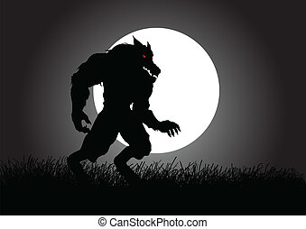 Werewolf - Stock vector of a werewolf lurking in the dark...