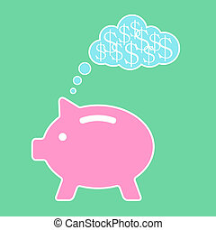 piggy bank dreaming about money flat design modern vector...
