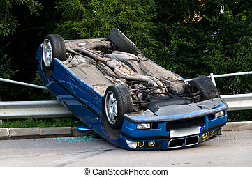 Car crash - Car accident crash flipped upside down, road...