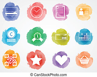 Creative vector colored icons for internet retail business