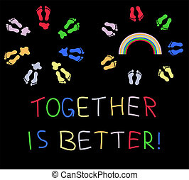 Together is better - Circles of colored footsteps with...