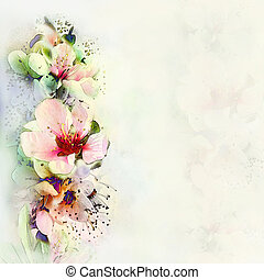 Vintage card with  spring flowers on hazed watercolor background