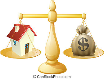 House money sack scales concept with a house on one side and...