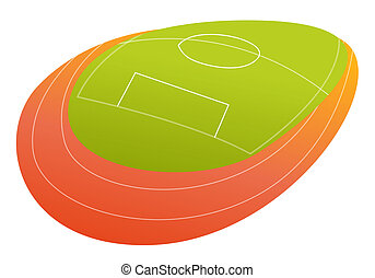 Soccer or football ground - Football or soccer ground in red...