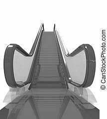 Escalator on a white background