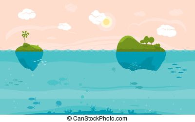 Cartoon sea background - Sea game background with islands...