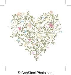 Floral love bouquet for your design, heart shape - Floral...