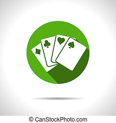Vector game cards icon. Eps10 - Vector green game cards...