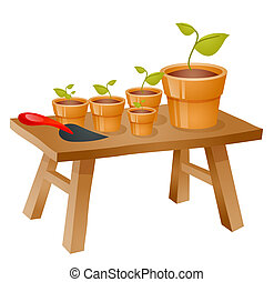 Gardening items - a group of flowerpots and spade on a...