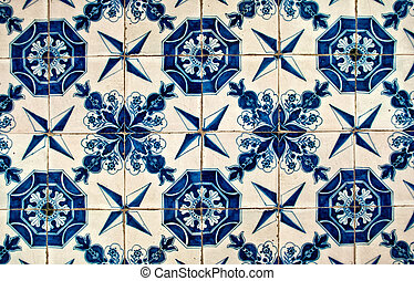 Blue and White tiles - ancient blue and white tiles in the...