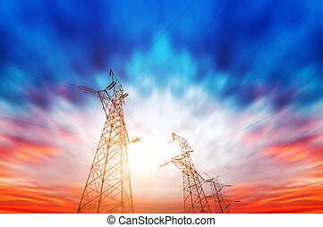 High-voltage tower sky background - high voltage...