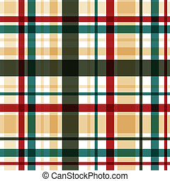 Vector plaid seamless pattern Eps10 - Vector red-green plaid...