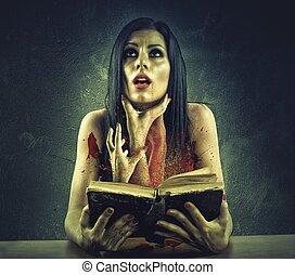 Horror book - Girl is strangled by hands coming out of a...