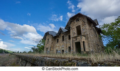 Ruined building - Time lapse of ruined building against...