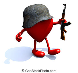 heart with arms, legs, helmet and rifle, 3d illustration
