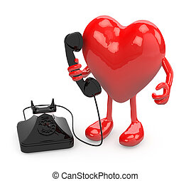 heart with arms, legs and old phone on hand, 3d illustration
