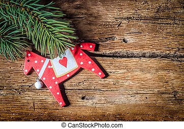 Christmas decoration on wood - CRed Horse, Christmas...