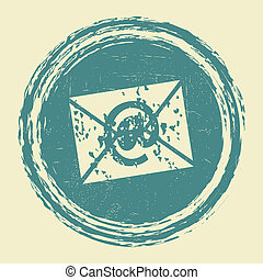 email grunge stamp vector