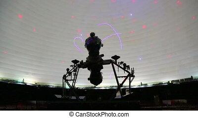 star projector inside a planetarium