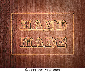 hand made text on wood background