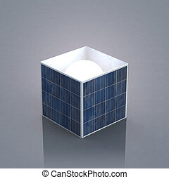 solar box - a box made of photovoltaic panels with the sun...