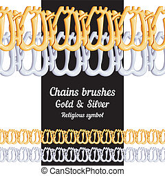 Set of chains metal brushes - gold and silver religious symbol Islam vector