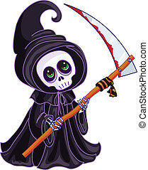 Death with a scythe in his hands on white background. -...
