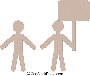 Paper Men - Cut out of brown paper men on white background.
