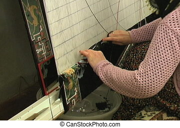 Weaving silk carpet - Silk on silk carpets which are hand...