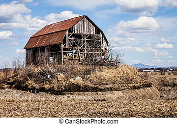 Old Abandoned Barn - Old Abandoned Rusty Old barn in the...