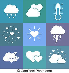 Flat love weather icons