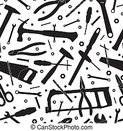 Construction tools. Seamless vector background. Template for...