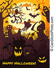Halloween illustration background with spooky cemetery, bare trees, graves, bats and death.
