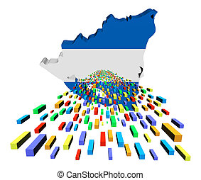 Nicaragua map flag with containers illustration
