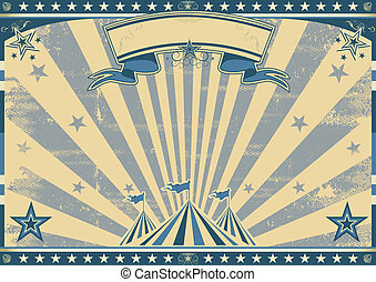 Horizontal retro blue circus - a circus vintage poster for...