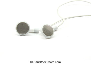 MP3 Earbuds - MP3 music ear buds on a white background.