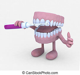 open denture cartoon washing toot with electric tootbrush -...