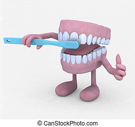 open denture cartoon washing toot with tootbrush - open...