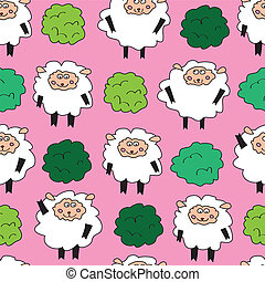 Sheep and shrubs Seamless pattern - Sheep seamless pattern...